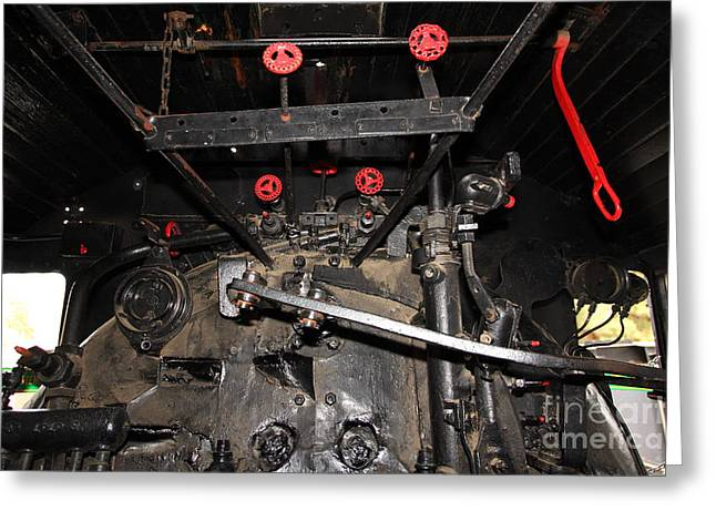 Road Crew Greeting Cards - Vintage Steam Locomotive Cab Compartment 5D29254 Greeting Card by Wingsdomain Art and Photography