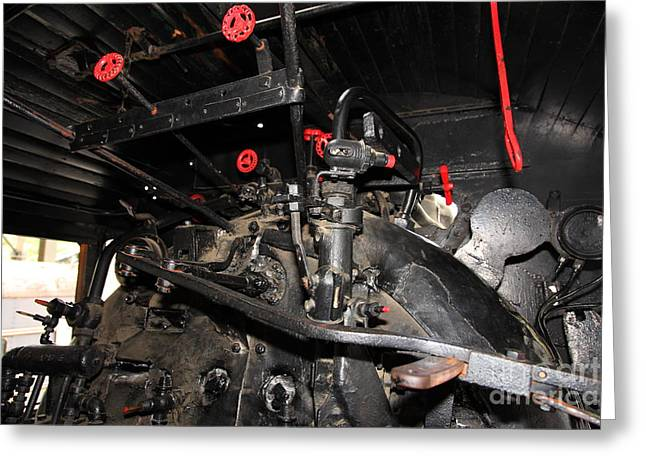 Road Crew Greeting Cards - Vintage Steam Locomotive Cab Compartment 5D29256 Greeting Card by Wingsdomain Art and Photography