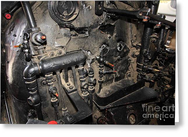Road Crew Greeting Cards - Vintage Steam Locomotive Cab Compartment 5D29264 Greeting Card by Wingsdomain Art and Photography