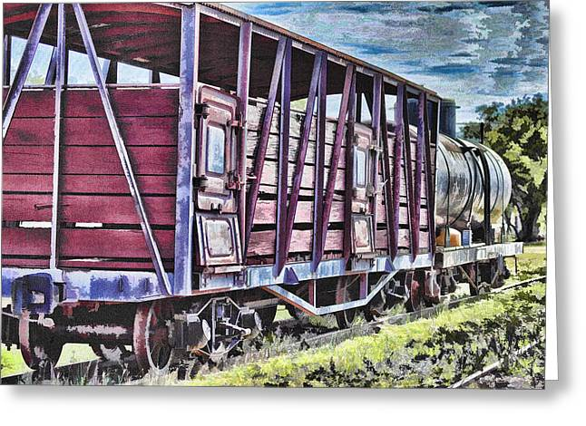 Locomotive Wheels Greeting Cards - Vintage Steam Locomotive Carriages Greeting Card by Douglas Barnard