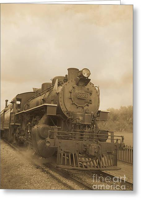 Brown Tone Greeting Cards - Vintage Steam Locomotive Greeting Card by Edward Fielding