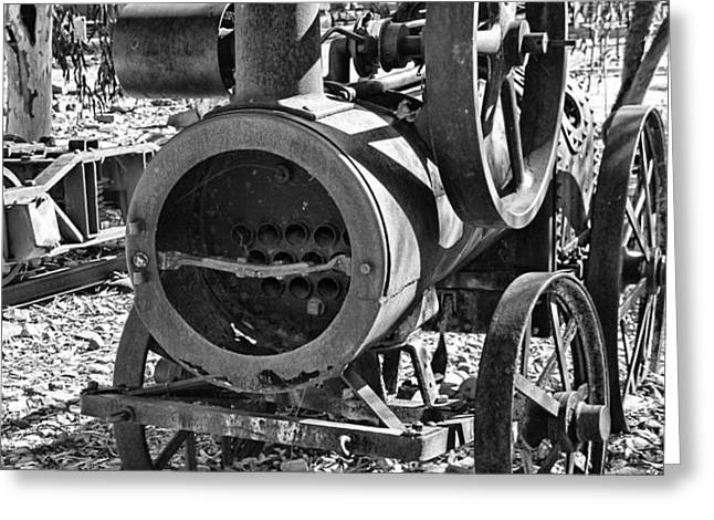 Vintage Steam Tractor Black and White Greeting Card by Douglas Barnard