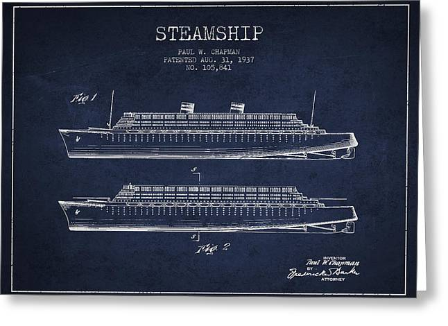 Steam Ship Greeting Cards - Vintage Steamship patent from 1937 Greeting Card by Aged Pixel