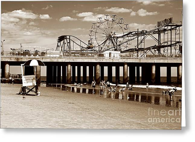 Ocean Black And White Prints Greeting Cards - Vintage Steel Pier Greeting Card by John Rizzuto