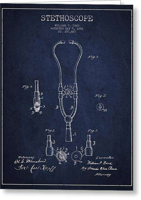 Vintage Stethoscope Patent Drawing From 1882 - Navy Blue Greeting Card by Aged Pixel
