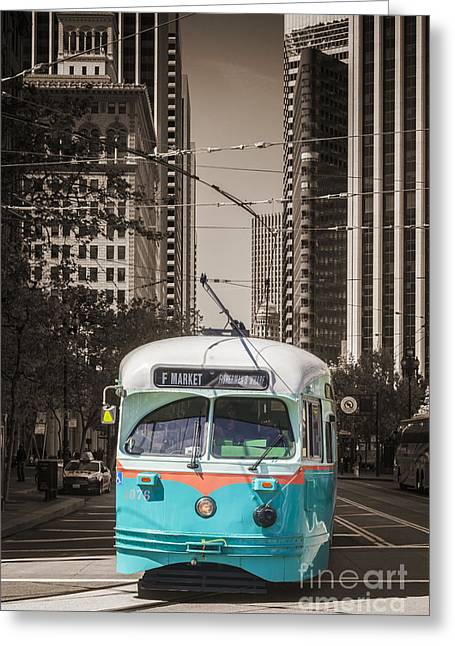 Downtown San Francisco Greeting Cards - Vintage Streetcar San Francisco Greeting Card by Colin and Linda McKie