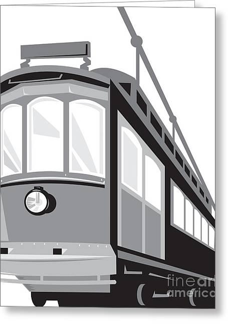 Electric Train Greeting Cards - Vintage Streetcar Tram Train Greeting Card by Aloysius Patrimonio