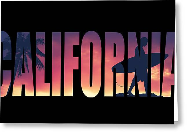 Vintage Style California Postcard Greeting Card by Mr Doomits