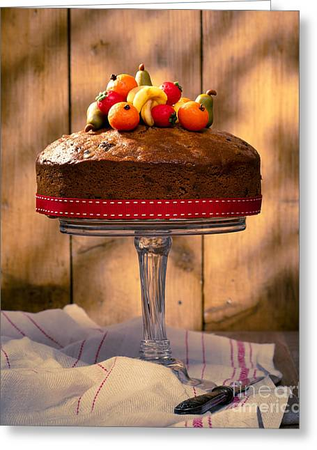 Fruit Stand Greeting Cards - Vintage Style Fruit Cake Greeting Card by Amanda And Christopher Elwell