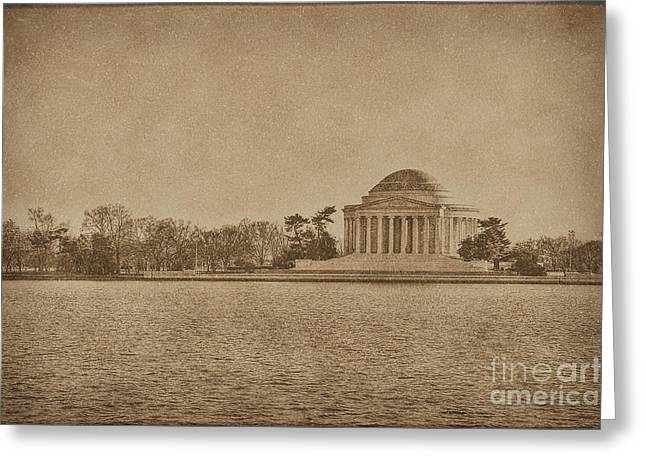 Historical Buildings Greeting Cards - Vintage Style Jefferson Memorial Greeting Card by Emily Enz