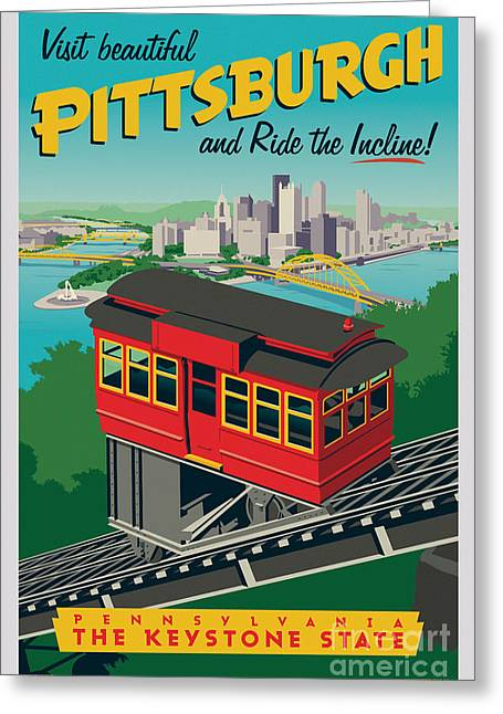Pittsburgh Digital Greeting Cards - Vintage Style Pittsburgh Incline Travel Poster Greeting Card by Jim Zahniser