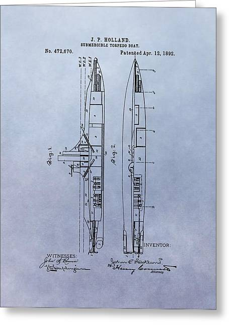Us Navy Drawings Greeting Cards - Vintage Submarine Boat Patent Greeting Card by Dan Sproul