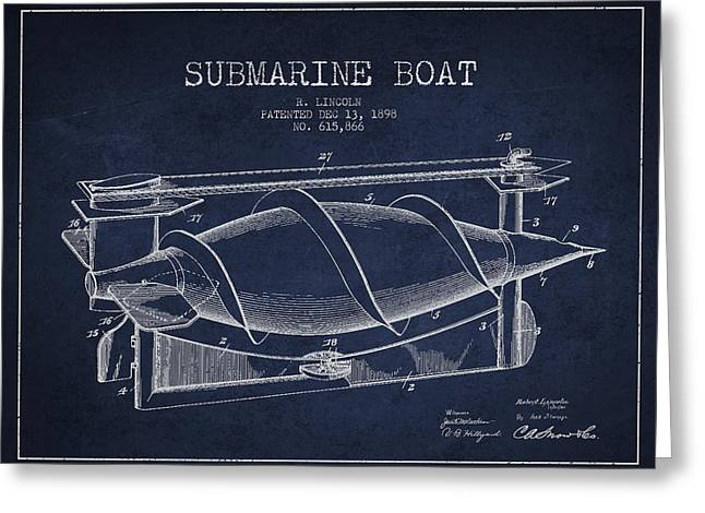 Submarine Greeting Cards - Vintage Submarine Boat patent from 1898 Greeting Card by Aged Pixel