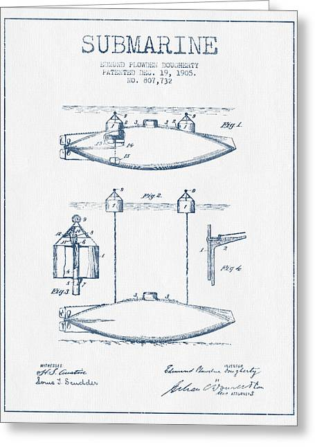 Submarine Greeting Cards - Vintage Submarine patent from 1905 -  Blue Ink Greeting Card by Aged Pixel