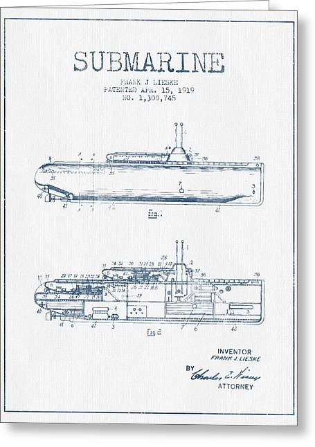 Submarine Greeting Cards - Vintage Submarine patent from 1919 -  Blue Ink Greeting Card by Aged Pixel