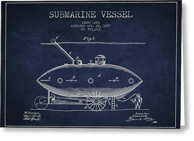 Submarine Greeting Cards - Vintage Submarine Vessel patent from 1897 Greeting Card by Aged Pixel