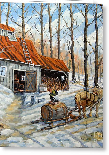 Canadian Rural Scene Created By Richard T Pranke Greeting Cards - Vintage Sugar Shack by Prankearts Greeting Card by Richard T Pranke