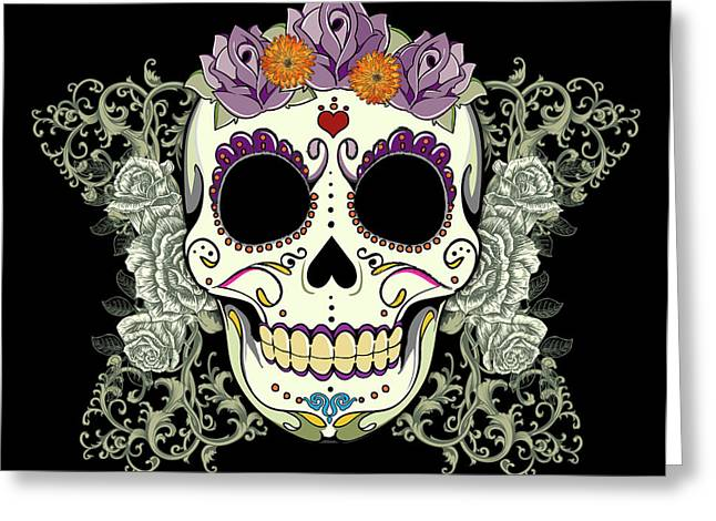 Purples Greeting Cards - Vintage Sugar Skull and Roses No. 2 Greeting Card by Tammy Wetzel