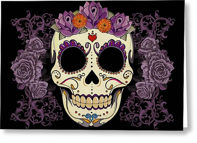 Purple Flowers Greeting Cards - Vintage Sugar Skull and Roses Greeting Card by Tammy Wetzel