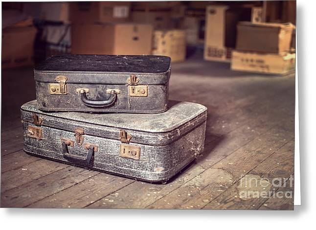 Times Past Greeting Cards - Vintage suitcase Greeting Card by Delphimages Photo Creations
