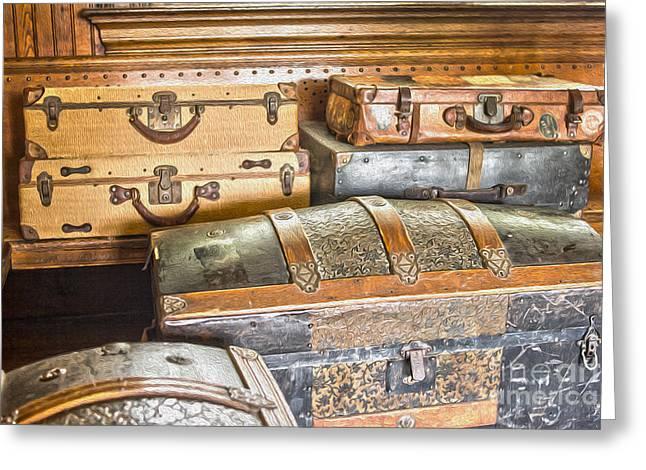 Old Lock Greeting Cards - Vintage suitcases Greeting Card by Patricia Hofmeester