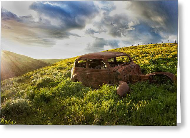 Rusted Cars Greeting Cards - Vintage Sunset Greeting Card by Lee Gochenour