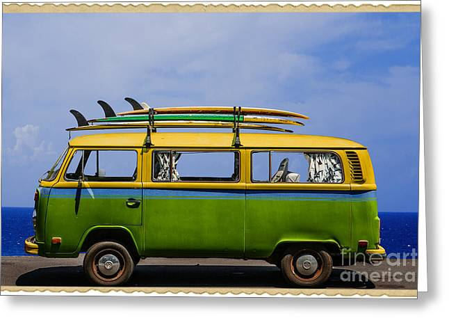 Bus Greeting Cards - Vintage Surf Van Greeting Card by Diane Diederich