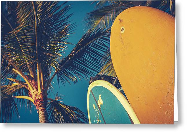Surfing Photos Greeting Cards - Vintage Surfboards And Palms Greeting Card by Mr Doomits