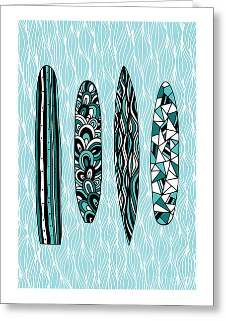 Surf Board Greeting Cards - Vintage Surfboards Part1 Greeting Card by Susan Claire
