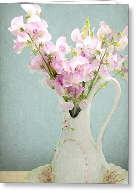 Vase Of Flowers Mixed Media Greeting Cards - Vintage Sweet Peas in a Pitcher Greeting Card by Peggy Collins