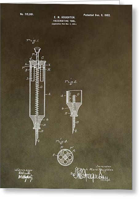 Vaccination Greeting Cards - Vintage Syringe Patent Greeting Card by Dan Sproul