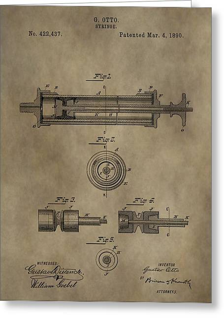 Vaccination Greeting Cards - Vintage Syringe Patent Drawing Greeting Card by Dan Sproul