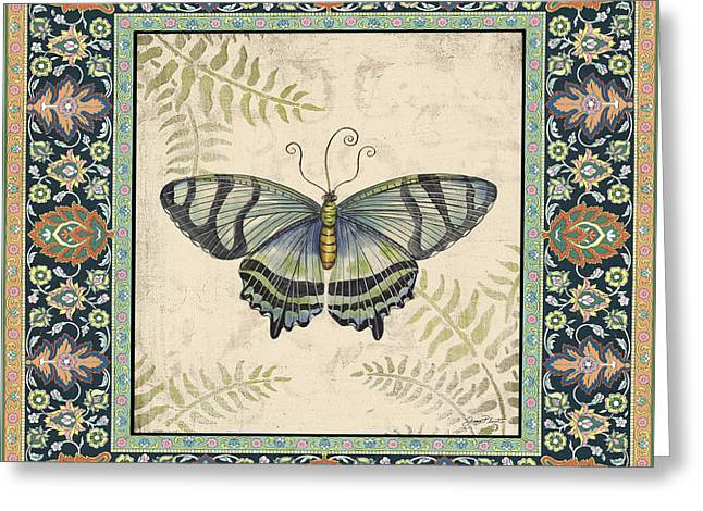 Floral Digital Art Paintings Greeting Cards - Vintage Tapestry Butterfly-A Greeting Card by Jean Plout