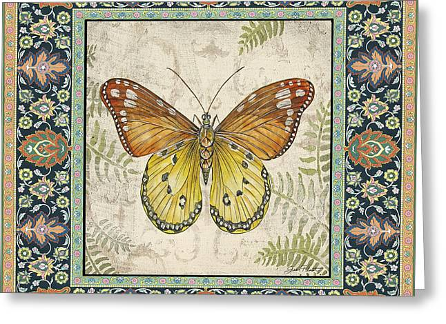 Floral Digital Art Paintings Greeting Cards - Vintage Tapestry Butterfly-B Greeting Card by Jean Plout