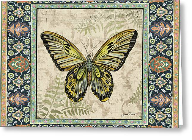 Floral Digital Art Paintings Greeting Cards - Vintage Tapestry Butterfly-C Greeting Card by Jean Plout
