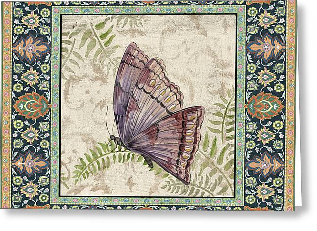 Floral Digital Art Paintings Greeting Cards - Vintage Tapestry Butterfly-D Greeting Card by Jean Plout