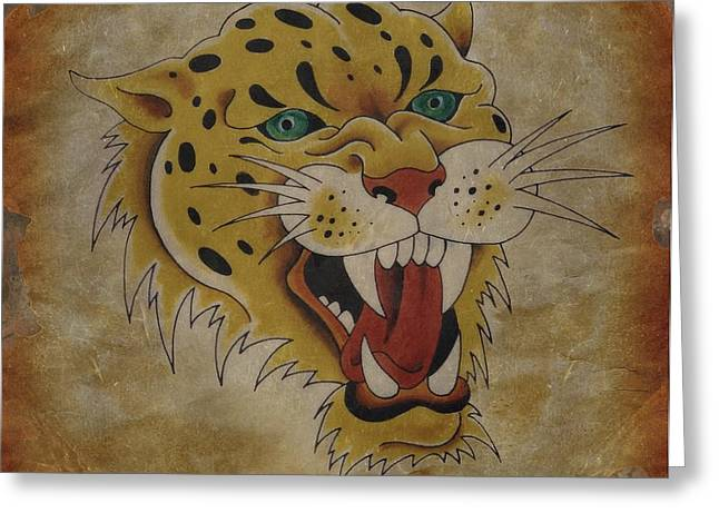 Tattoo Flash Drawings Greeting Cards -  Leopard Vintage Tattoo Flash Art Greeting Card by Larry Mora