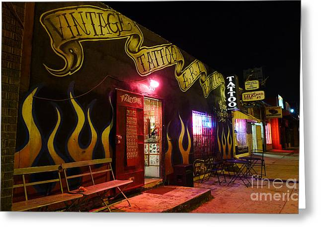 Urban Images Greeting Cards - Vintage Tattoo Parlour Greeting Card by Nina Prommer