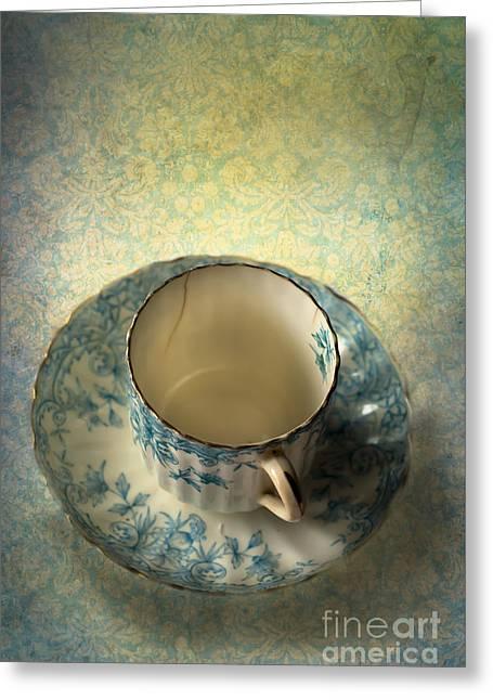 Vintage Tea Cup Greeting Card by Jan Bickerton