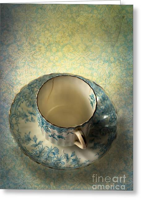 White China Cup Greeting Cards - Vintage Tea Cup Greeting Card by Jan Bickerton