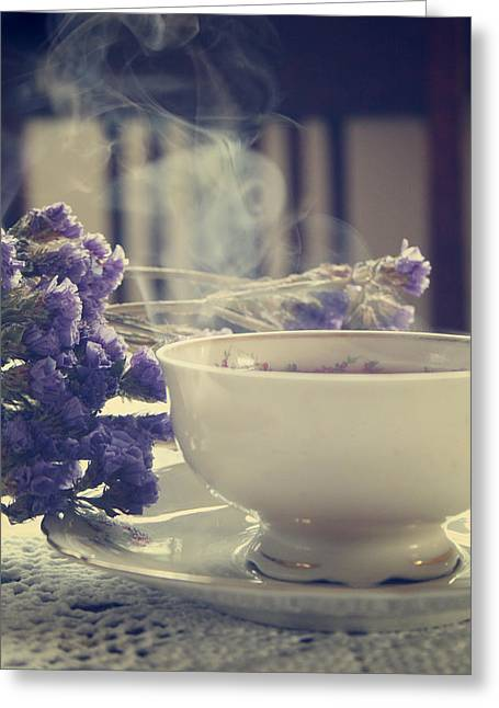 Table-cloth Greeting Cards - Vintage Tea Set With Purple Flowers Greeting Card by Wojciech Zwolinski