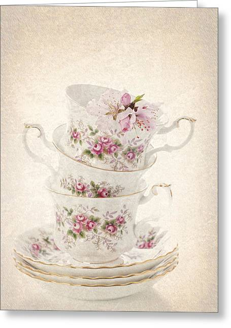 Vintage Teacup Greeting Cards - Vintage Teacups Greeting Card by Amanda And Christopher Elwell
