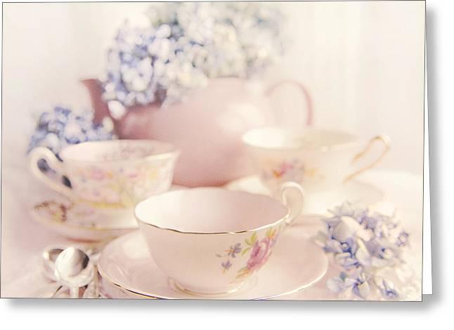 Tabletop Greeting Cards - Vintage Teacups Greeting Card by Theresa Tahara