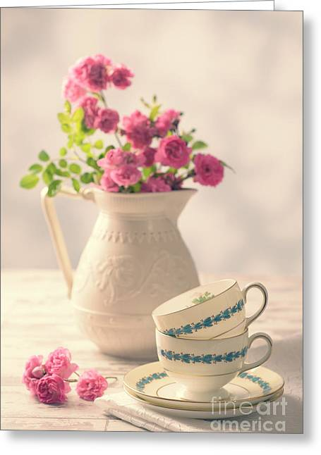 Vintage Teacup Greeting Cards - Vintage Teacups With Roses Greeting Card by Amanda And Christopher Elwell