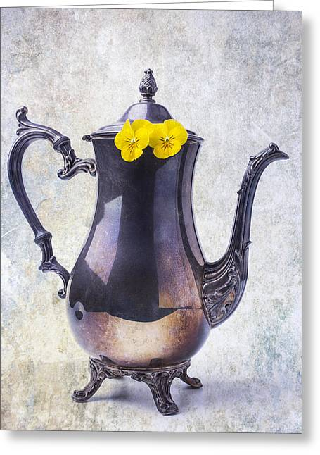 Yellow Flower Pot Greeting Cards - Vintage Teapot With Pansies  Greeting Card by Garry Gay
