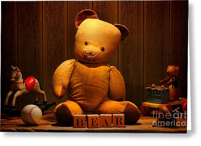 Vintage Teddy Bear And Toys Greeting Card by Olivier Le Queinec