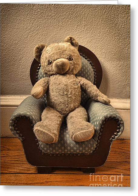 Left Alone Greeting Cards - Vintage Teddy Bear in a Chair Greeting Card by Jill Battaglia