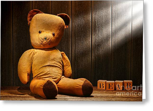 Vintage Teddy Bear Greeting Card by Olivier Le Queinec