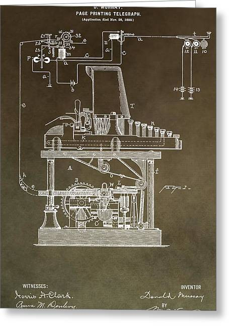 Calling Mixed Media Greeting Cards - Vintage Telegraph Patent Greeting Card by Dan Sproul