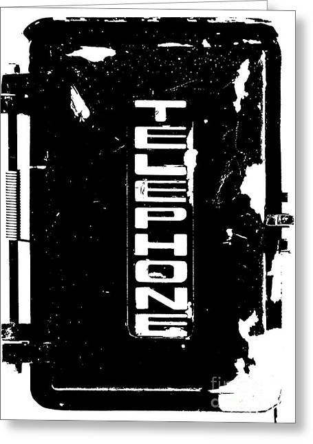 E Black Greeting Cards - Vintage Telephone Black and white Greeting Card by ArtyZen Studios